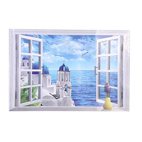 Muurstickers, 3D grote afneembare strand zee raam landschap muursticker zelfklevend behang afneembare stickers (Egeïrrit)