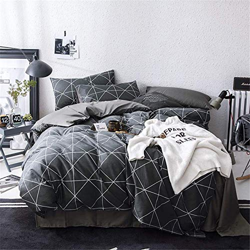 VClife Cotton Bedding Sets Constellation Printed Duvet Cover Sets Twin Reversible Checkered Pattern Bedding Comforter Cover Sets for Boy Girl Teens Children Navy White Bedding Collections