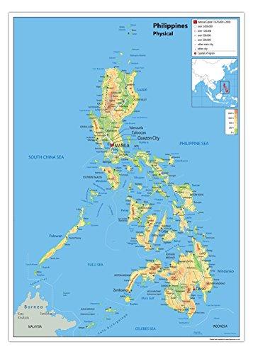Physische Karte Philippinen, Papier, laminiert [GA] a2
