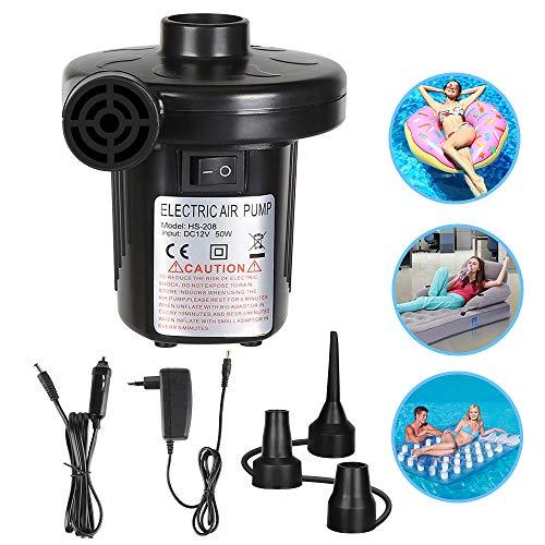 FEALING Elektrische Luftpumpe, Multifunktion Elektrische Pumpe, 2 in 1 Elektropumpe mit 3 Luftdüse Kompressor für Luftmatratzen, Schlauchboote, Gästebetten, Aufblasbare Schwimmtiere Oder Camping