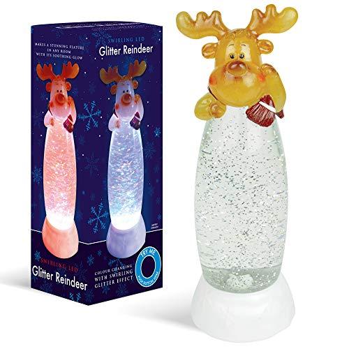 Lámpara LED con purpurina de reno navideño - Decoración de luz nocturna que cambia de color