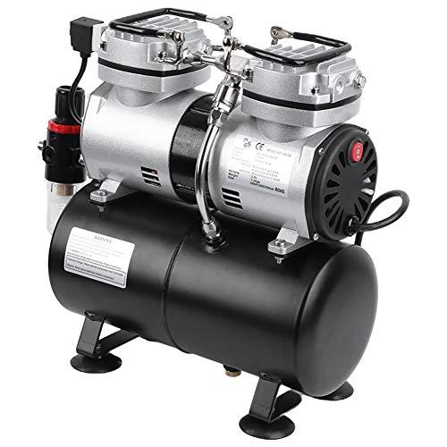 Compressore aerografo 1 / 4HP con 3,5 litri serbatoio d'aria, Kit di spruzzatura a doppio cilindro per aerografo, interruttore di controllo automatico a doppia velocità(EU 220V)