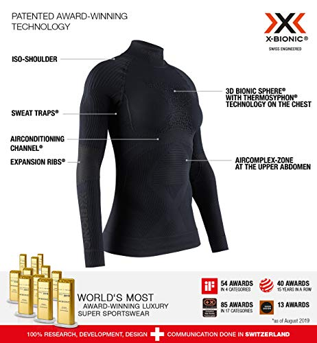 X-BIONIC Energy Accumulator 4.0 T-Shirt à Manches Longues et col Tortue pour Femme L Noir