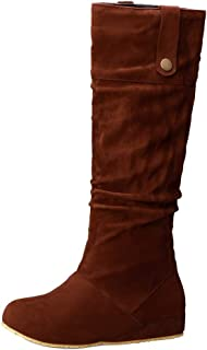 MisaKinsa Women Retro Western Boots Wedge Heels Long Boots