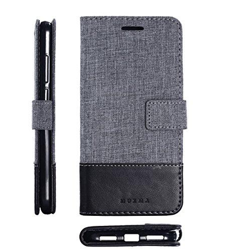 pinlu® Funda para Xiaomi Redmi Note 5A Prime Case de Piel PU 2 Colores Mezclados Flip Wallet Carcasa con Ranura para Tarjetas Función Lino Estilo Negro