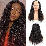 Huarisi U Part Wig For Black Women Deep Wave Human Hair Wig Brazilian 100% Unprocessed Virgin Hair Machine Made Wigs Real Hair Long Half Wig 24inch U Parte Peluca Pelo Humano Largo