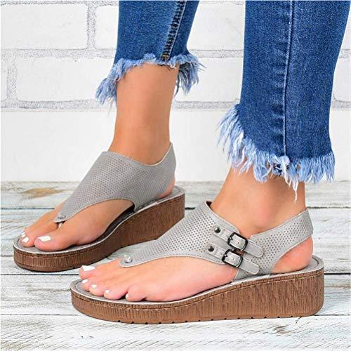 EVR Sandalias Mujer Verano 2020 Zapatos de Plataforma Cuña Zapatos Pellizco Playa Zapatillas Sandalias de Punta Abierta Fiesta Roman Moda Sandalias,Gris,37