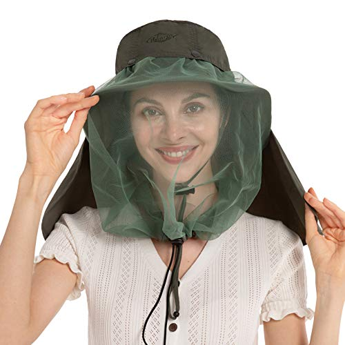 Palmyth Mosquito Head Net Hat, Sun Hat Safari Hat Away from Insect and Bug (Army Green)