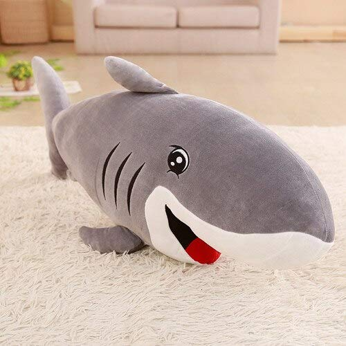 hokkk 50-120cm tamaño Grande Divertido Kawaii tiburón Juguete de Felpa apaciguar cojín Regalo para niños niñas Animal Almohada de Lectura Regalo para bebé 105cm Gris