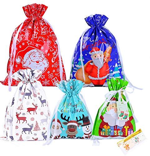 YAAVAAW Confezione da 30 Sacchetti Regalo Natalizi Con Coulisse Grandi (Con 30 Sacchetti e 30 Cartellini) - Confezioni Regalo Assortiti Regalo di Natale Natalizi Per Feste di Compleanno