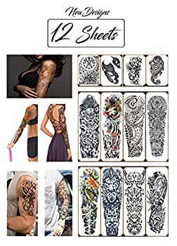 Temporary Tattoos Large Full Arm Half Sleeves  12 Sheets  Premium Realistic Fake Semi Permanent Black Body Stickers for Men and Women for Shoulder Chest and Back Hawaiian Tribal