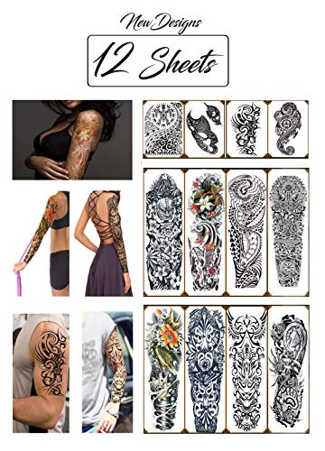 Temporary Tattoos Hawaiian Tribal Large Full Arm Half Sleeves (12 Sheets) New Designs Premium High Quality Realistic Fake Semi Permanent Black Body Stickers for Men and Women for Shoulder Chest & Back