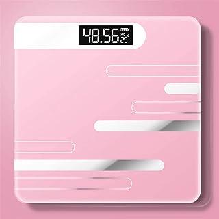 Mhwlai Báscula Digital para Baño, Báscula Corporal, USB Recargable, Báscula Saludable, Pantalla LCD, Báscula De Percepción Precisa (Carga / 18 Kg),Rosado