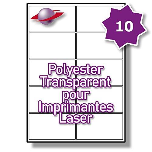 10 Par Feuille, 250 Feuilles, 2500 Étiquettes. Label Planet® Étiquettes en Polyester Transparent A4 pour Imprimantes Laser 99.1 x 57mm, LP10/99 GTP.