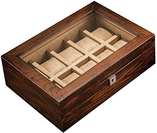 Klassieke houten horloge-vitrine met 10 sleuven, top sieraden collectie opbergdoos, horloge-organizer, kersenhout
