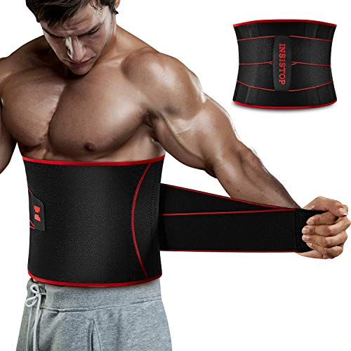 Waist Trimmer Belt for Men,Sauna Waist Trainer with Adjustable Double Straps,Sweat AB Belt for Weight Loss and Back Support Neoprene Belt