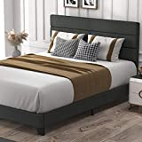 Allewie Full Size Platform Bed Frame with Fabric Upholstered Headboard and Wooden Slats, Fully Upholstered Mattress Foundation/Strong Wooden Slats Support/Box Spring Optional/Easy Assembly
