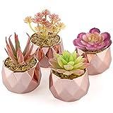 4 Suculentas Artificiales Plantas Rosa en Macetas de Cerámica Oro Rosa para Decoración del Hogar