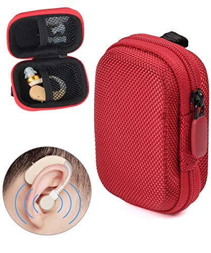 Designed Protective Case for Hearing Aid, Hearing Amplifier, Personal Sound Amplifier, Hearing Device, Listening Device, Strong Mini Case with Mesh Pocket, Universal Design (Ballistic Red)