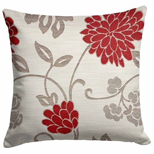 Ideal Textiles Chrystie Cushion Cover, Chenille Floral Cushion, Pillow Covers, 18' x 18', 45cm x 45cm (Red)