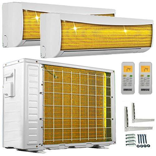 A++/A++ Duo-Split Golden-Fin 2,6 + 3,5 kW 9000+12000 BTU MultiSplit Klimaanlage INVERTER Klimagerät mit zwei Inneneinheiten 2 Innengeräten und Heizung WiFi/WLAN-Ready