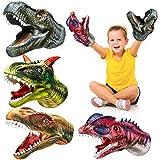 Geyiie Kids Puppets Toys, Dinosaur Hand Puppets Soft Rubber Realistic Dino Head Glove, Tyrannosaurus, Dilophosaurus, Rajasaurus, Carnosaur Puppet Toys for Kids Boys Girls, Party Favor Gift, 4 Pack