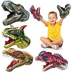 4. Geyiie Soft Rubber Realistic Tyrannosaurus, Dilophosaurus, Rajasaurus and Carnosaur Dinosaur Hand Puppets (Set of 4)