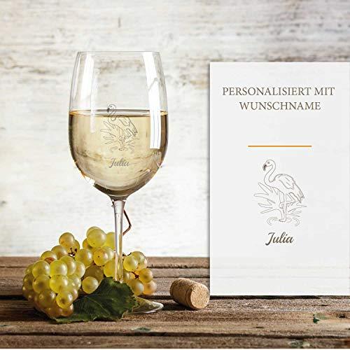 Smyla Weißweinglas mit Gravur (Flamingo) | Edles Weißwein-Glas mit Namen | Personalisierte individuelle Geschenkidee