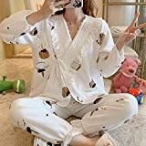 SDCVRE Pijama camisón de Invierno,Maternity Pajamas Sets Autumn Winter Cotton Home Clothes for Women Maternity Nightgown Pregnant Nightwear New,Beige,L