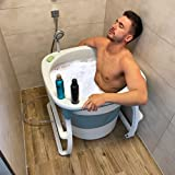 CRS Sitzbadewanne für Dusche & kleines Bad | faltbare Badewanne 78x78x65cm - mobile faltbare Badetonne für Erwachsene und Kinder / portable bathtub bathbucket