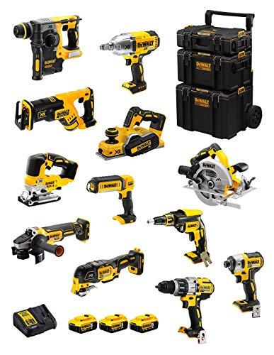 DeWALT Kit DWK1203 (DCD996 + DCH273 + DCG405 + DCF887 + DCF889H + DCS334 + DCS570 + DCS355 + DCP580 + DCS367 + DCL050 + DCF620 + 3 Baterías de 5,0 Ah + Cargador + Carro 3en1)