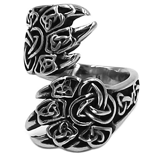 Fantasy Forge Jewelry Viking Bear Claw Ring Mens Womens Norse Style Silver Stainless Steel Celtic Band Sizes 7-13 (8)