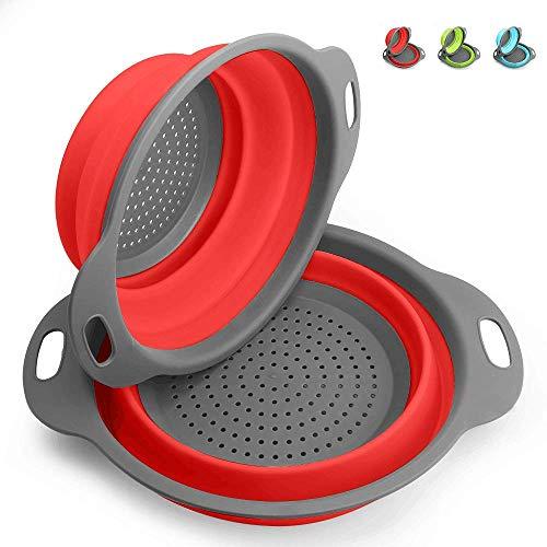 Scolapasta Pieghevole 2 Pezzi Kitchen Scolapasta Collapsible Kitchen Colander In Silicone - 29.2 * 23.7Cm E 24.6 * 20Cm, Approvato FDA(Rosso).