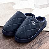 YUTJK Winter Slippers Warm Indoor Home Fluffy Slippers for Women and Men,Women's PU Leather Waterproof Cotton Slippers-Blue_6/6.5UK