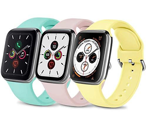3 Pack Silicone Cinturino Compatibile per Apple Watch Cinturino 38mm 40mm 42mm 44mm, Morbido Cinturini Edizione Sportivo per iWatch Series 6 5 4 3 2 1 SE, Uomo e Donna Cinturini