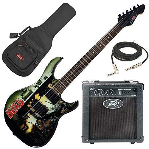 Peavey The Walking Dead Predator Electric Guitar Beginner Package with Peavey Backstage Transtube Guitar Amp, electric guitar gig bag, & 15 foot guitar cable