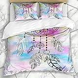 Conjuntos de funda nórdica Sueño Resumen Pluma Símbolo blanco Elegante Colector Moda Acuarela Signos aztecas Símbolos mágicos en microfibra suave Dormitorio decorativo con 2 fundas de almohada