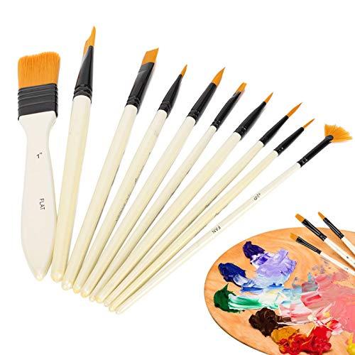 Ferramenta de pintura acrílica Conjunto de tinta a óleo Suprimentos de pintura 10 unidades Conjunto de escova de nylon, escova de nylon, para escola em casa