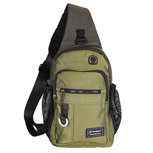 Vanlison Crossbody Sling Bag Backpack for Men & Women Army Green