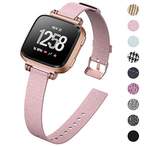KIMILAR Pulseras Compatible con Fitbit Versa/Versa 2/Versa Lite/SE Correa de Recambio Tela, Cuentas Delgado Reemplazo de Banda de la Muñeca Pulseras de Repuesto para Versa Smarwatch -Rosa De Seda