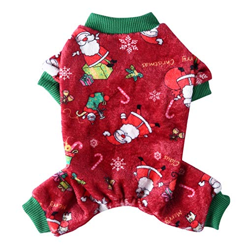 Southwind Christmas Dog Pajamas for Small Medium Dogs Chihuahua Yorkie Bulldog Puppy Clothes Christmas Dog Sweaters Warm Fleece Dog Jumpsuit Bodysuit Pet Pjs Winter Cat Onesie