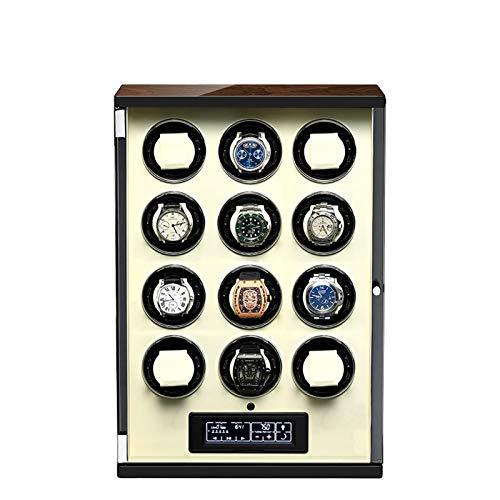 zyy Caja de Relojes Automaticos 5 Modos de Rotación Pantalla LCD Táctil Digital Iluminación LED AzulCrema con Mando A Distancia Mecánicos Caja Bobinadora (Color : Beige, Size : 12 epitope)