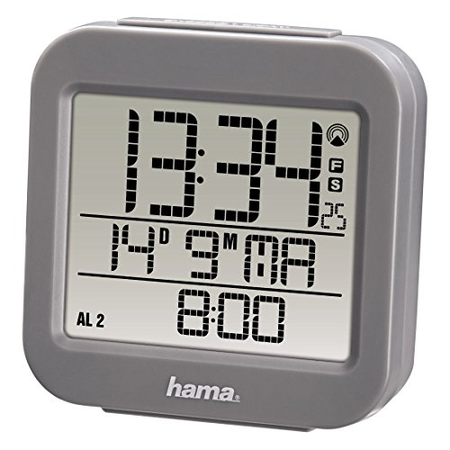 Hama Funk Wecker RC 130 (zwei Weckzeiten, Snooze, Speed Alarm, Thermometer und Kalender, Funkwecker) grau