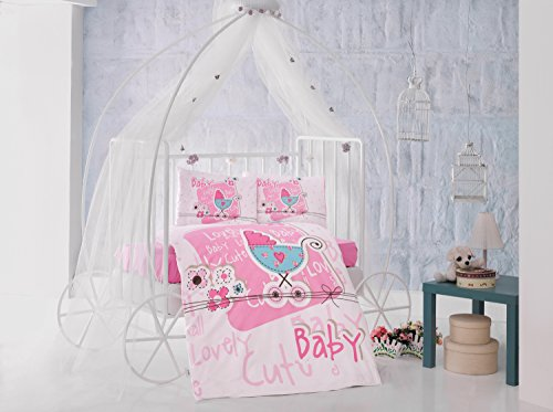 Lovely Rose bébé Lit pour bébé Housse de couette, 100% coton doux et Sain Parure de lit 4 pièces