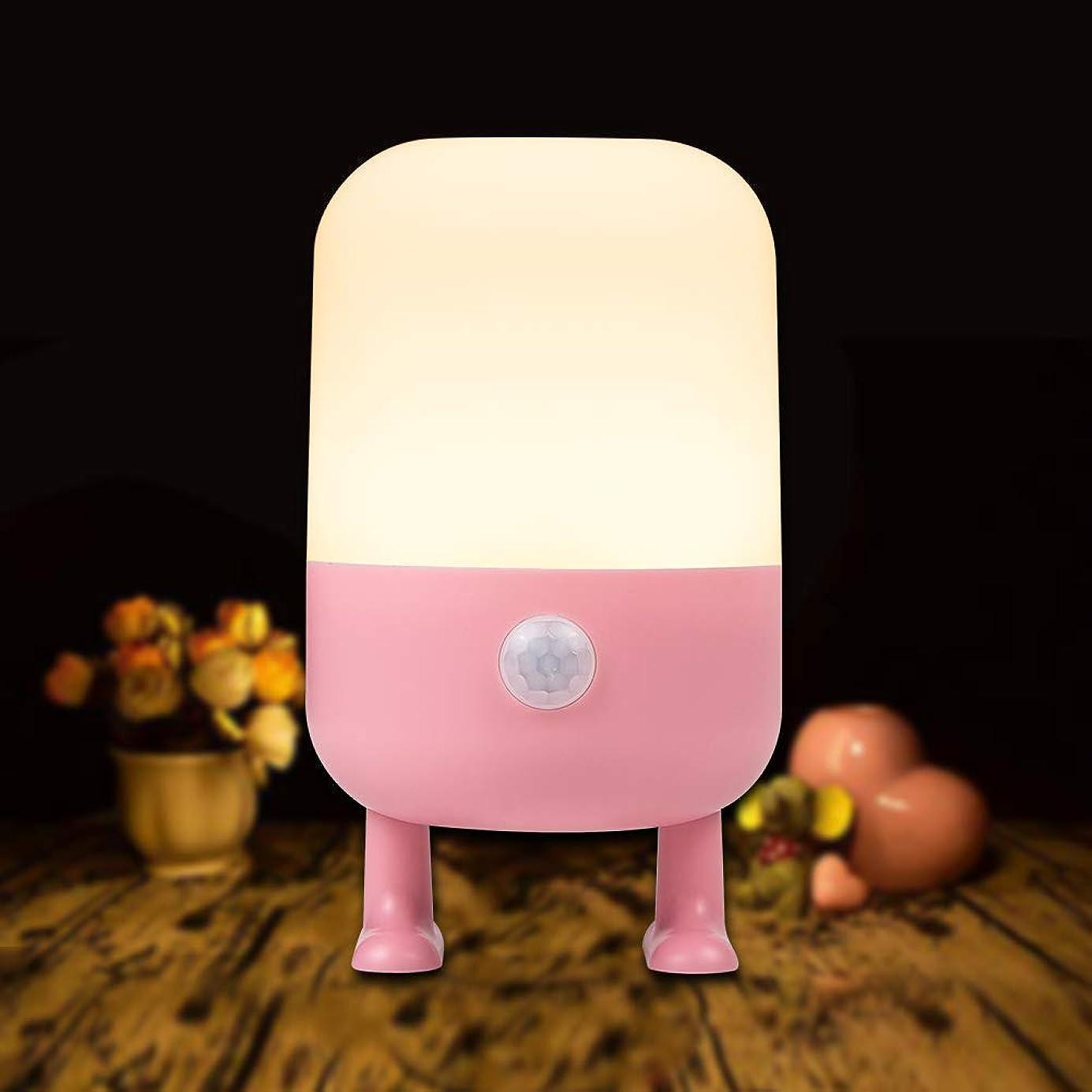 クリエイティブ調整するスケジュール【2019最新版】 LEDセンサーライト DEEPLite 足元ライト ナイトライト 人感センサー 間接照明 3つモード フットライト 充電式 室内照明 玄関 階段 廊下 子供用-ピンク