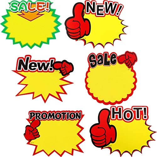 60 Pieces Starburst Sign Cards, 7 x 5.5 Inches Sale Paper Signs Price Burst Signs Assorted Display Tags for Retail Store