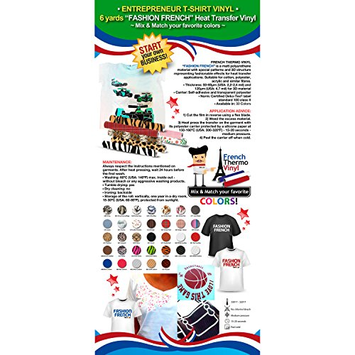 """Sale!! ENTREPRENEUR T-SHIRT VINYL: 6 yards French Thermo Vinyl """"FASHION FRENCH"""" (Heat Transfer Vinyl) – Mix & Match your favorite colors"""