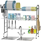 Ace Teah Over The Sink Dish Drying Rack, Large Dish Rack with Utensil Holder Hooks