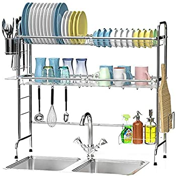 Over The Sink Dish Drying Rack Ace Teah 2-Tier Large Dish Rack for Kitchen Organizer Above Sink Dish Drainer Stainless Steel with Utensil Holder Hooks Silver