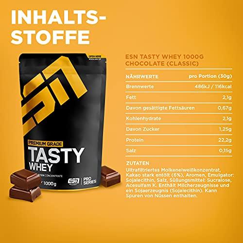 ESN Tasty Whey, Pro Series, Chocolate, 1er Pack (1 x 1000g Beutel) - 4